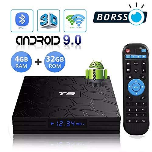 BORSSO T9 Android TV Box, 4GB RAM / 32GB ROM, Android 9 TV Box, 4K Smart TV Box