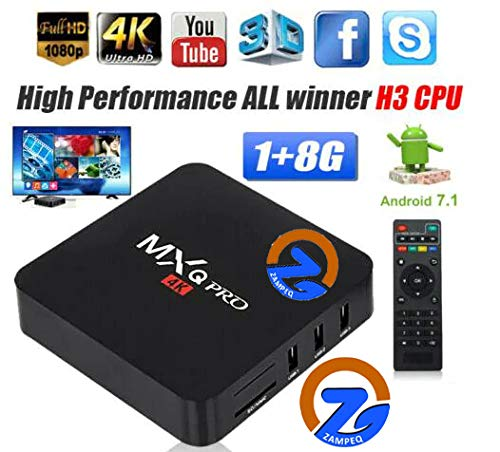 ZAMPEQ MXQ Pro 4K Android TV Box 1GB RAM 8GB ROM 64 Bit Quad Core Wi-Fi UHD Smart TV Box