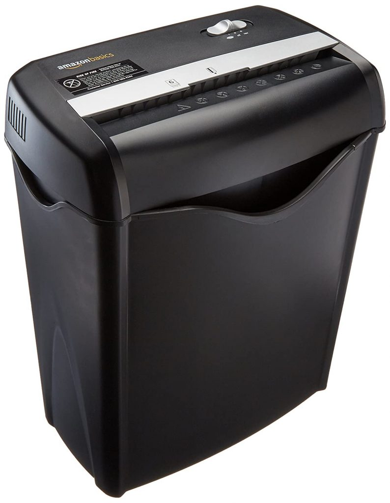 AmazonBasics 6-Sheet Cross Cut Paper and Credit Card Shredder