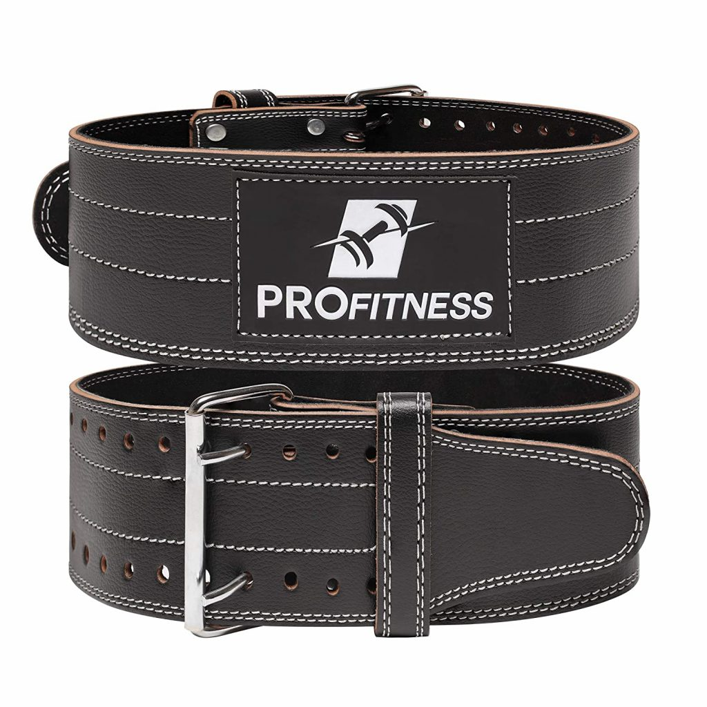 ProFitness Genuine Leather Workout Belt (4 Inches Wide) - Proper Weight Lifting Form - Lower Back Support for Squats