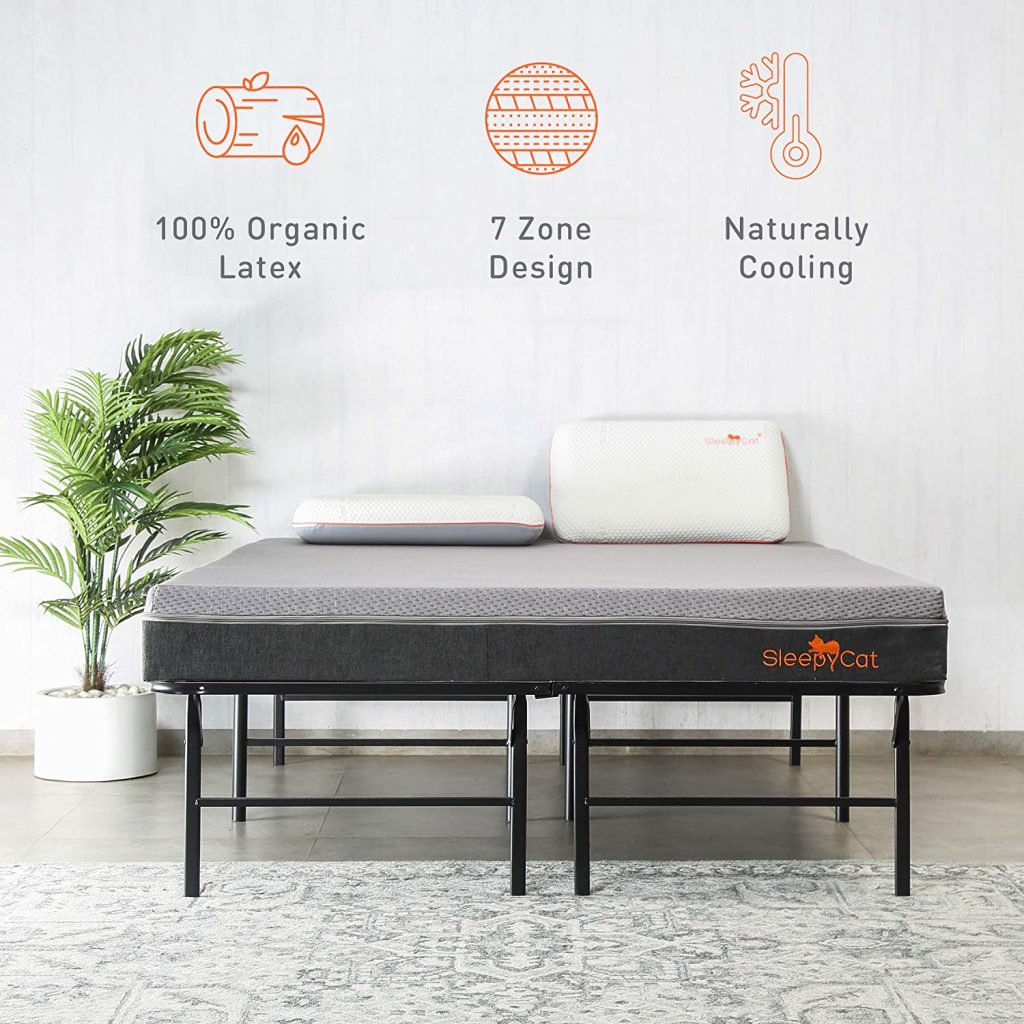 SleepyCat Premium Orthopedic Mattress Made with 100% Organic Latex  7-Zone Support  Naturally Cooling (72x72x7)