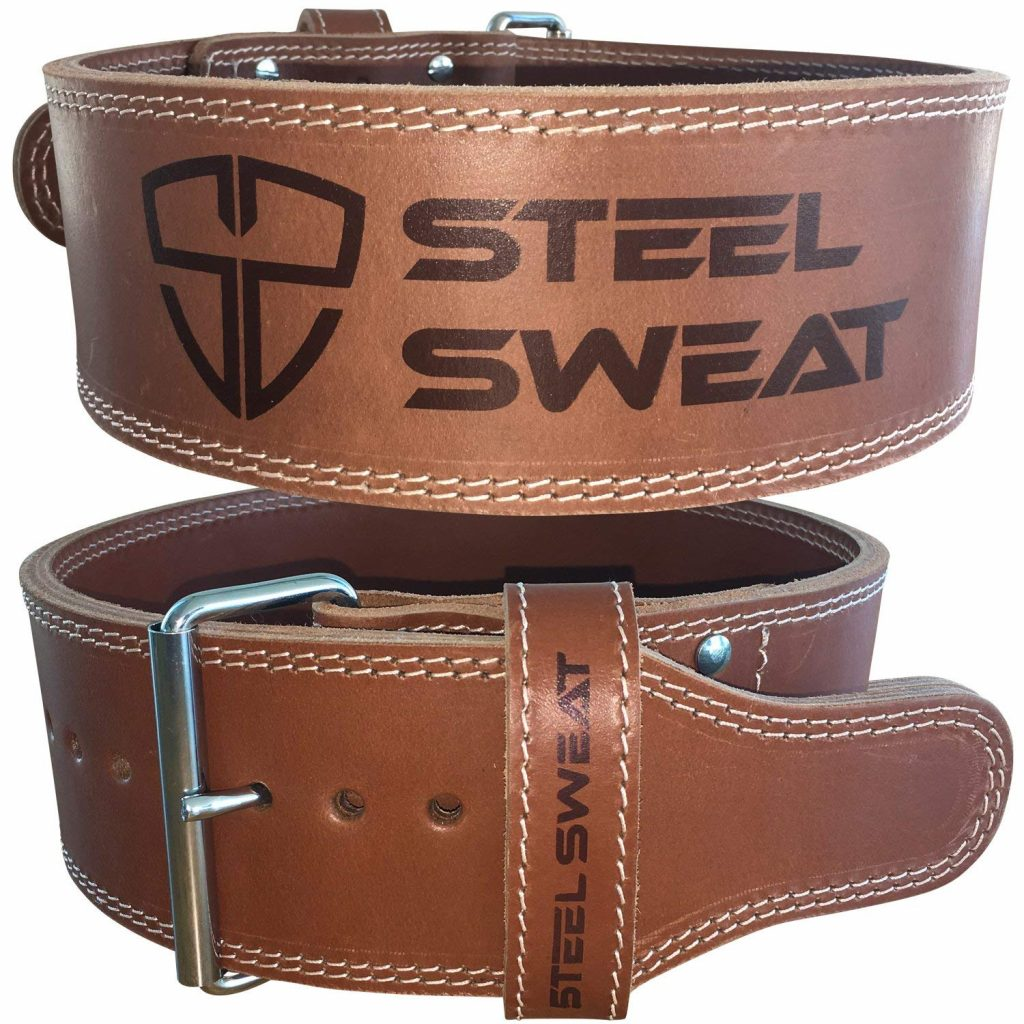 """Steel Sweat Weight Lifting Belt - 4"""" Wide by 10Mm Thick Single Prong Heavy Duty Adjustable Powerlifting Rhino Brown Large"""